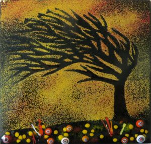Enamel of cornish tree in autumn by Jeanette Hannaby