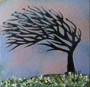 Enamel of cornish tree in spring by Jeanette Hannaby