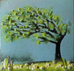 Enamel of cornish tree in summer by Jeanette Hannaby