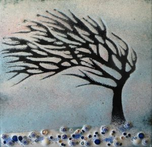 Enamel of cornish tree in winter by Jeanette Hannaby
