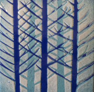 Enamel of blue fir trees by Jeanette Hannaby