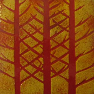Enamel of red fir trees by Jeanette Hannaby