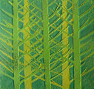 Enamel of green firs by Jeanette Hannaby