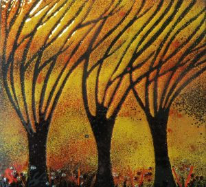 Enamel of windy tree by Jeanette Hannaby