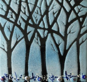 Enamel of winter woods by Jeanette Hannaby