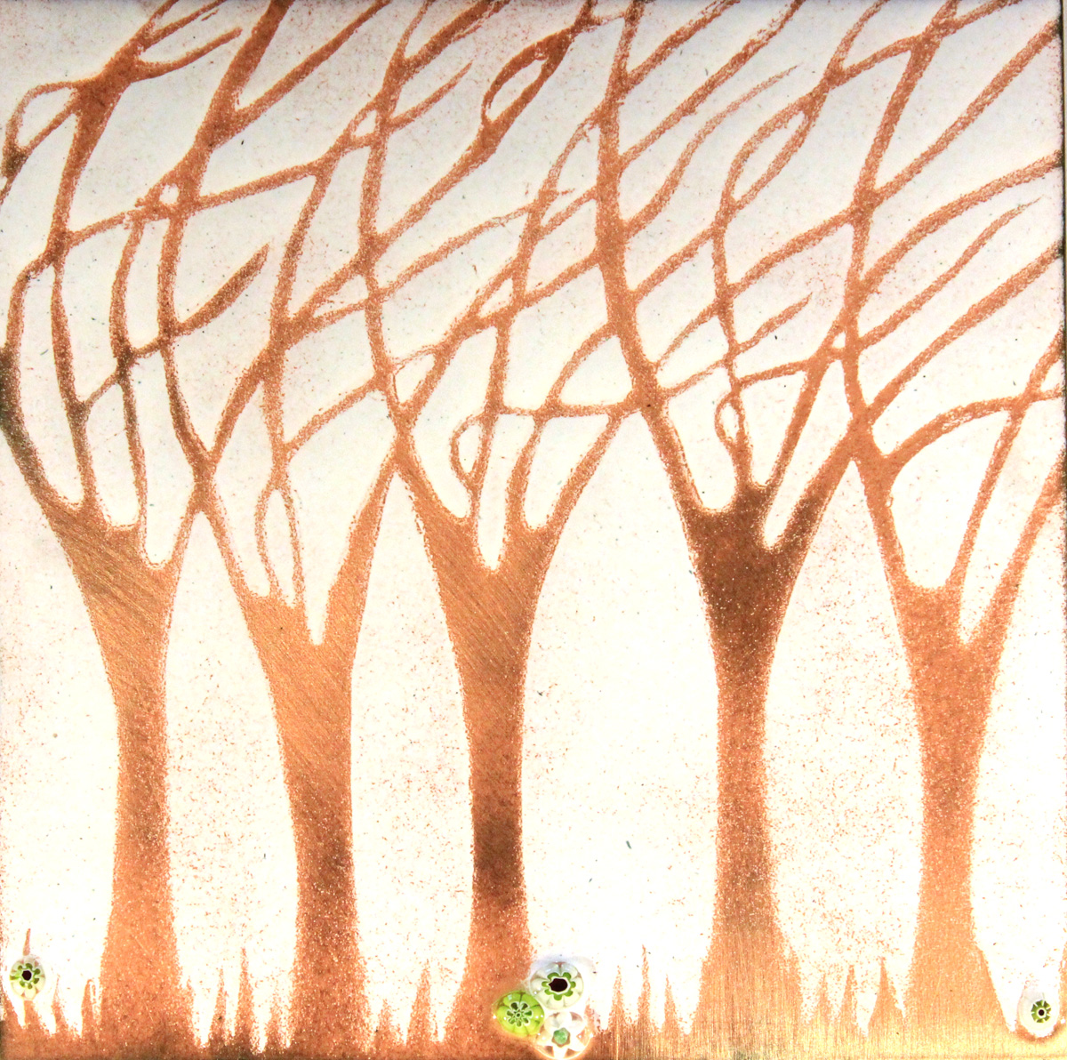 Copper windy trees enamel picture by Jeanette Hannaby