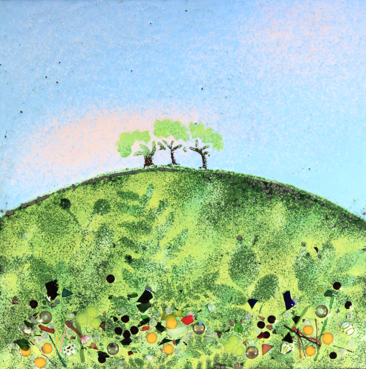 Three trees enamel picture by Jeanette Hannaby