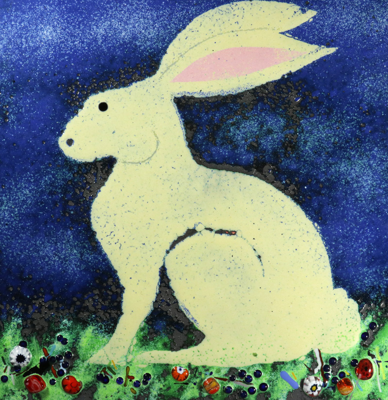 White sitting hare enamel picture