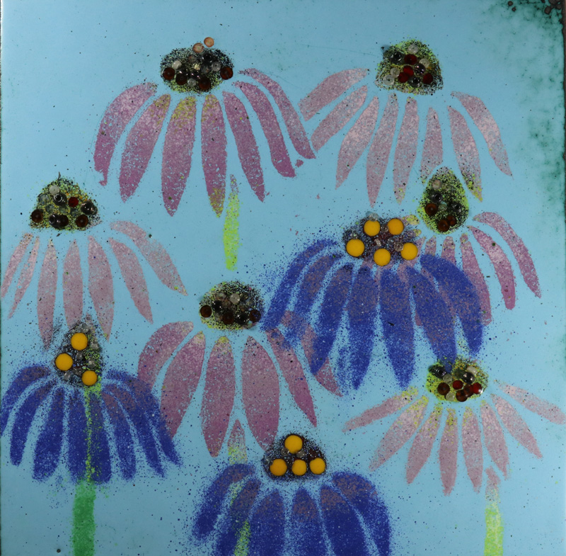 Echinacea enamel picture by Jeanette Hannaby