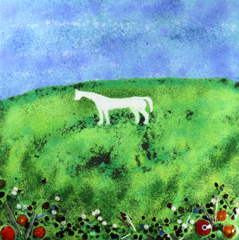 Wesbiury white horse enamel picture by Jeanette Hannaby