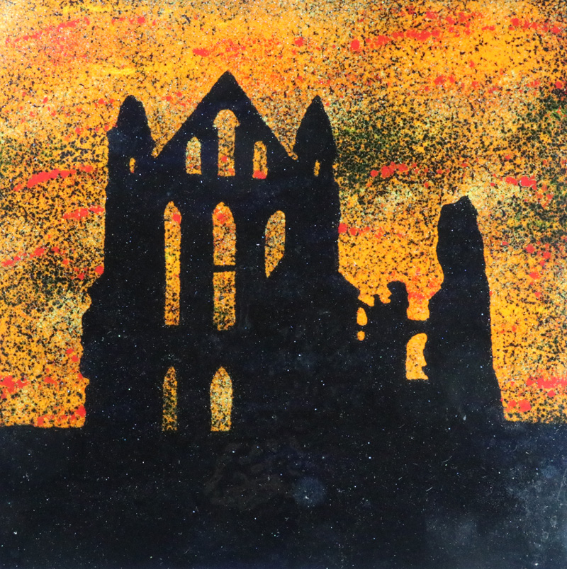 Whitby abbey enamel picture by Jeanette Hannaby