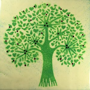 Green tree enamel picture by Jeanette Hannaby
