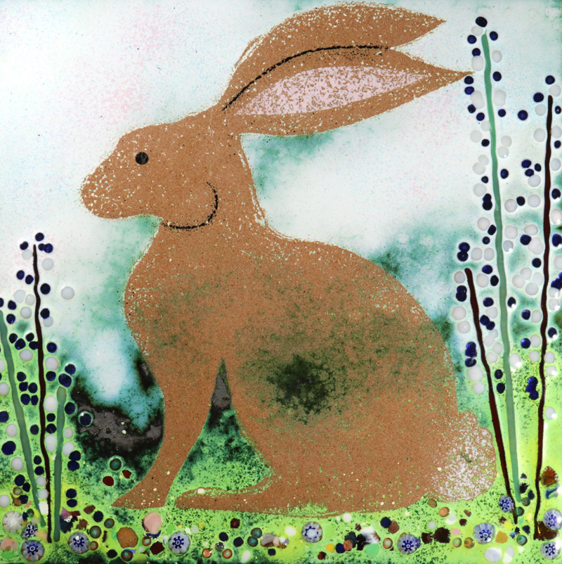 Sitting hare enamel picture