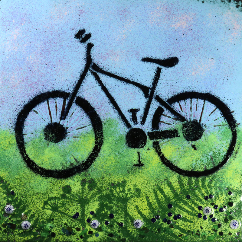 Mountain bike enamel picture by Jeanette Hannaby