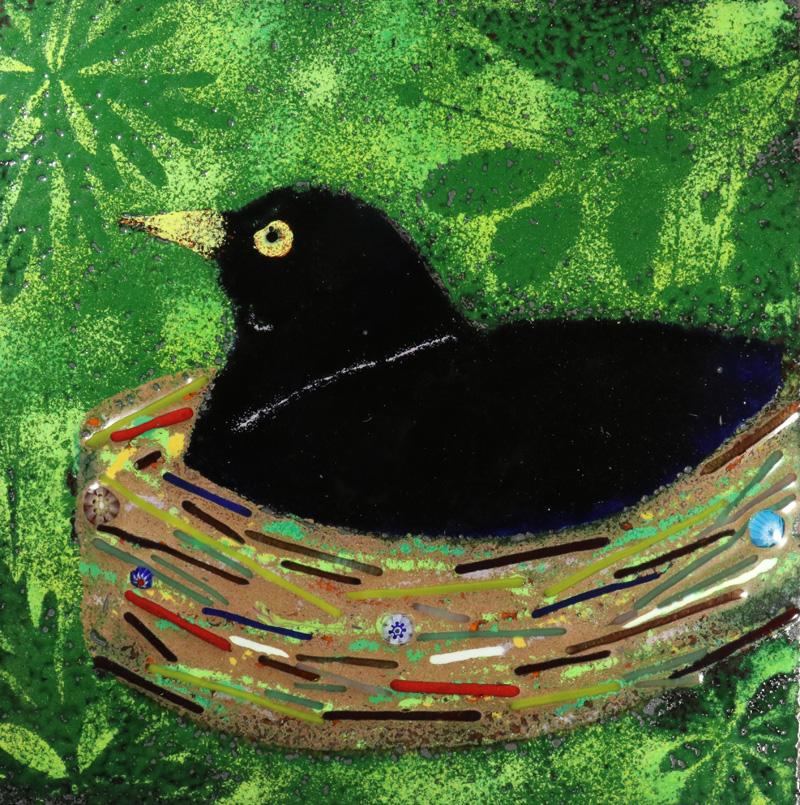 Blackbird enamel pciture by Jeanette Hannaby