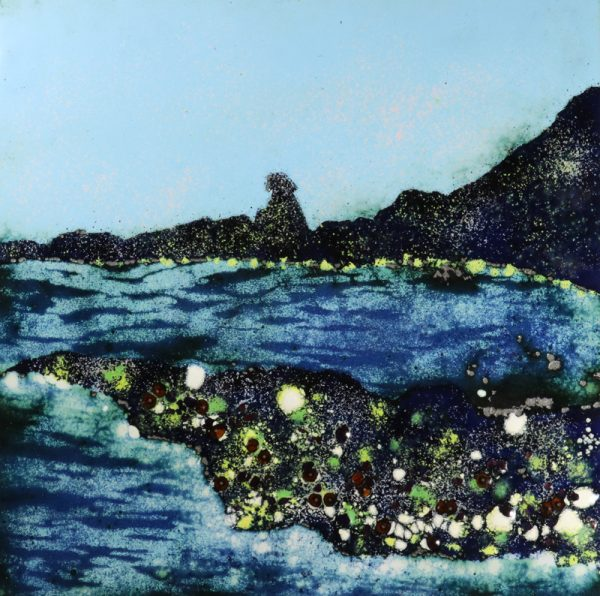 Hartland quay enamel picture by Jeanette Hannaby