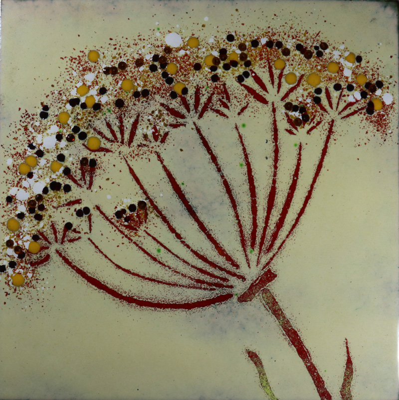 Cream cow parsley enamel picture by Jeanette Hannaby