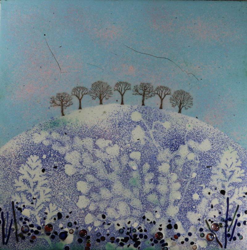 Wintry May Hill enamel picture by Jeanette Hannaby