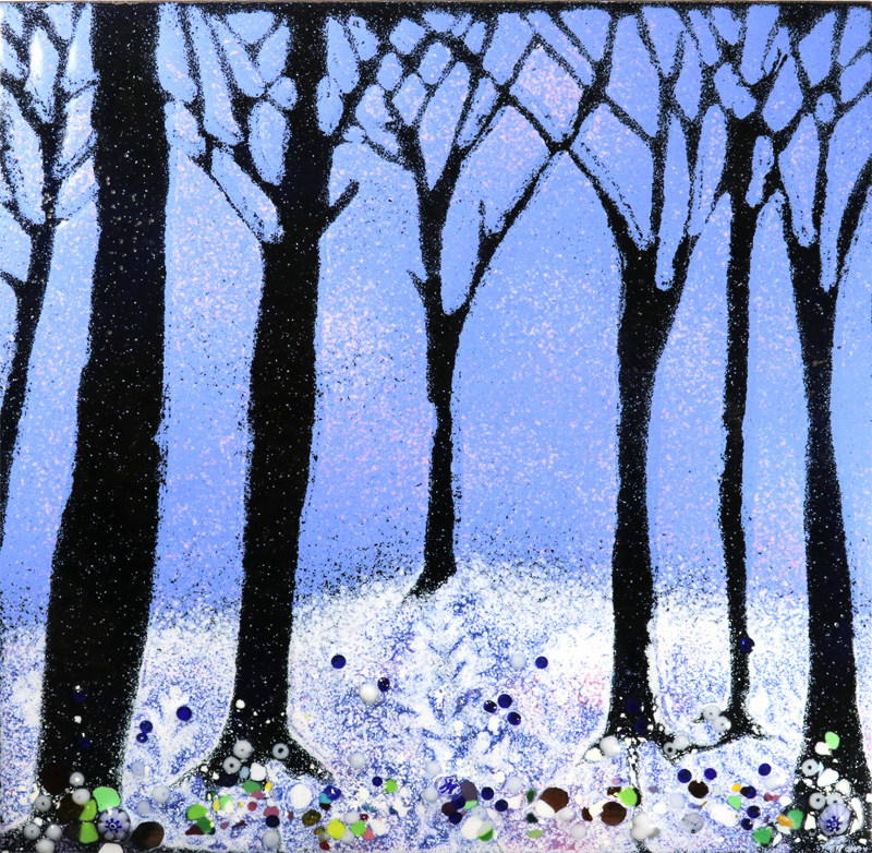 winter forest walk enamel picture by Jeanette Hannaby