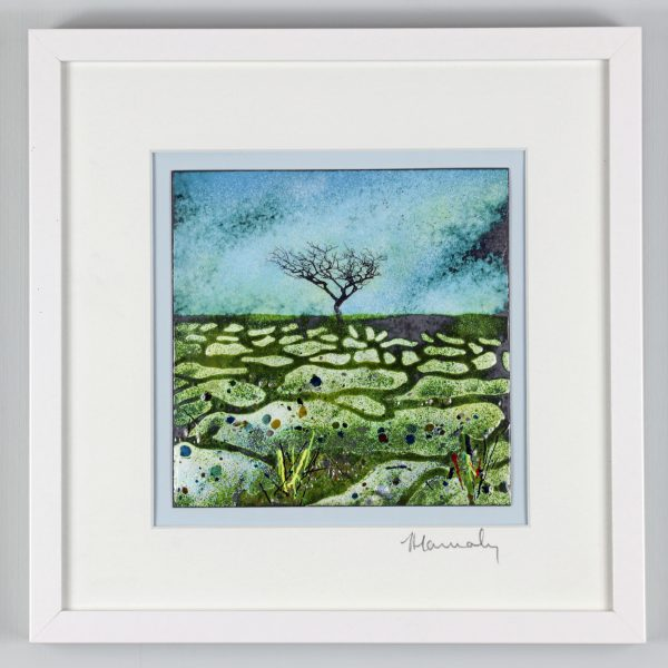 Limestone Pavement, Malham, Yorkshire. Enamel picture by Jeanette Hannaby