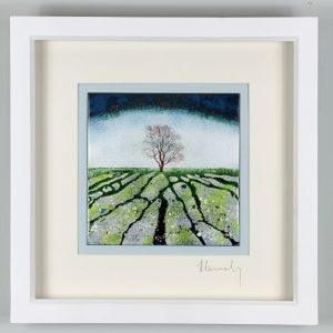 Enamel picture inspired by the limestone pavements at Malham. Made by Jeanette Hannaby