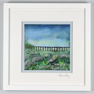 Ribblehead viaduct enamel picture by Jeanette Hannaby