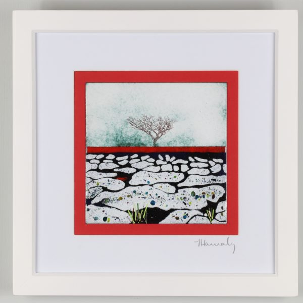 Enamel picture inspired by the limestone pavements at Malham in Yorkshie. Contempory image enhanced with a rich red