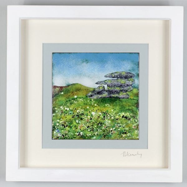 Enamel picture of the Cheesewring Stones on Bodmin Moor. By Jeanette Hannaby