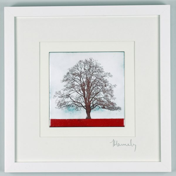 Enamel picture of a tree in Herefordshire. By Jeanette Hannaby