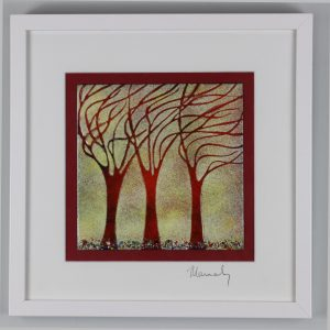 autumn trees enamel picture by Jeanette Hannaby