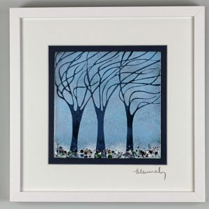 Enamel picture from a hand cut stencil of winter windwept trees