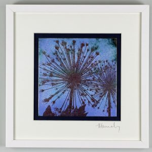 Enamel picture of an allium on a blue lilac sky. By Jeanette Hannaby
