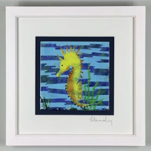 Seahorse enamel picture by Jeanette Hannaby