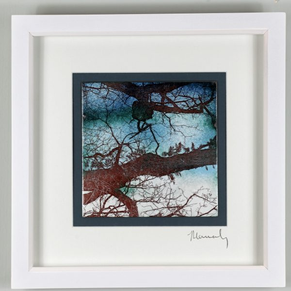 enamel picture of ferns on the bough by Jeanette Hannaby
