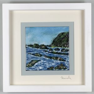 Enamel Picture of Duckpool in North Cornwall. By Jeanette Hannaby