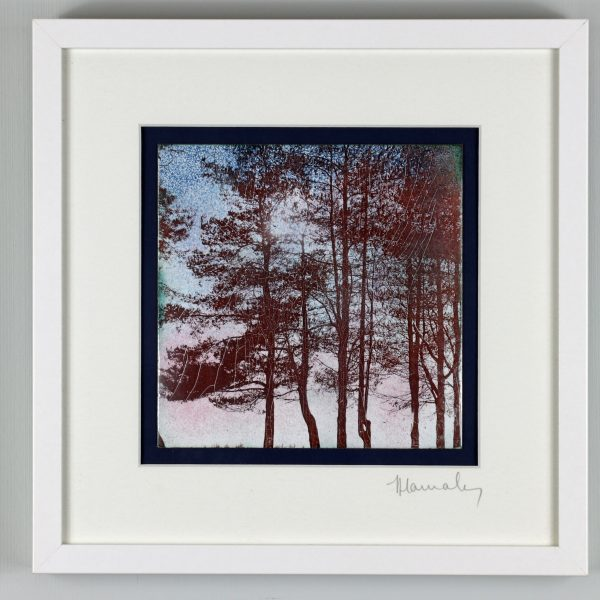 Enamel picture of some of the trees at May Hill with a dusky sky. By Jeanette Hannaby