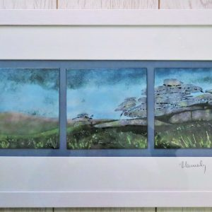 Enamel triptych picture of the Cheesewring on Dartmoor