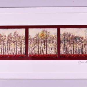 Enamel triptych picture of trees at Linton