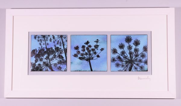 Enamel triptych picture of cow parsley