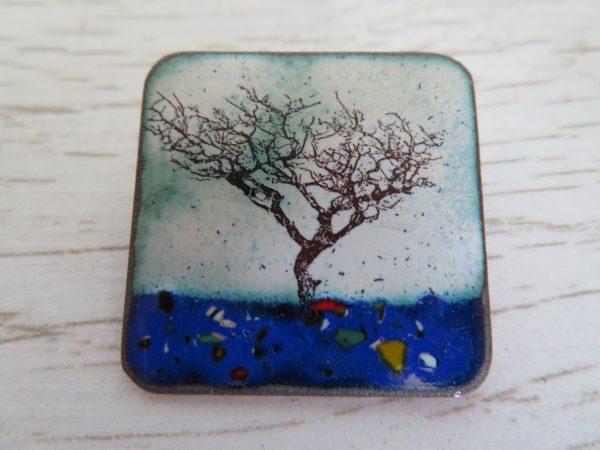 Windswept tree enamel brooch