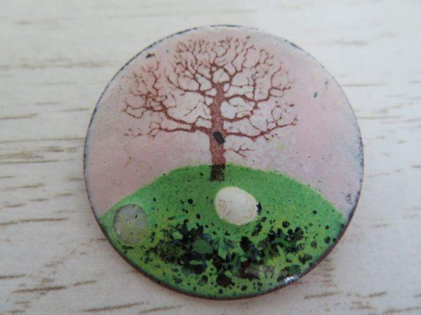 Pink enamel brooch by Jeanette Hannaby