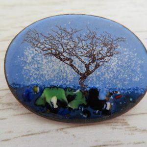 Tree enamel brooch by Jeanette Hannaby