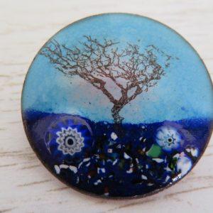 Blue enamel brooch by Jeanette Hannaby