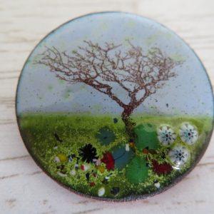 Enamel brooch, landscape with tree